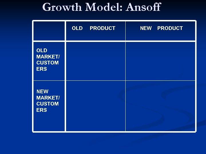 Growth Model: Ansoff OLD MARKET/ CUSTOM ERS NEW MARKET/ CUSTOM ERS PRODUCT NEW PRODUCT
