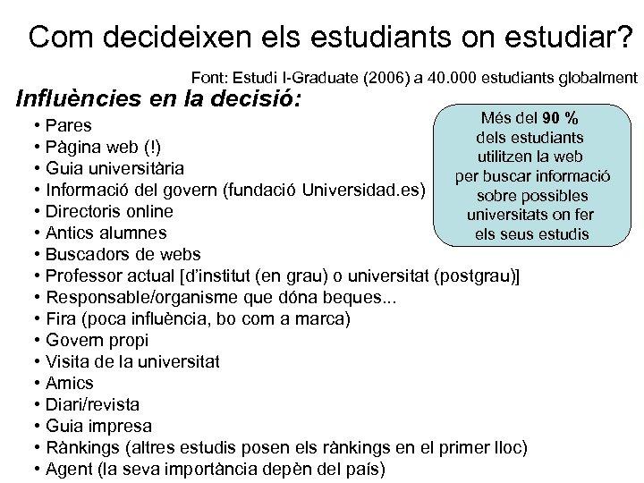 Com decideixen els estudiants on estudiar? Font: Estudi I-Graduate (2006) a 40. 000 estudiants