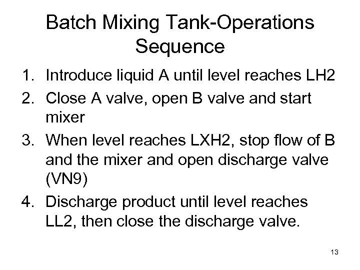 Batch Mixing Tank-Operations Sequence 1. Introduce liquid A until level reaches LH 2 2.