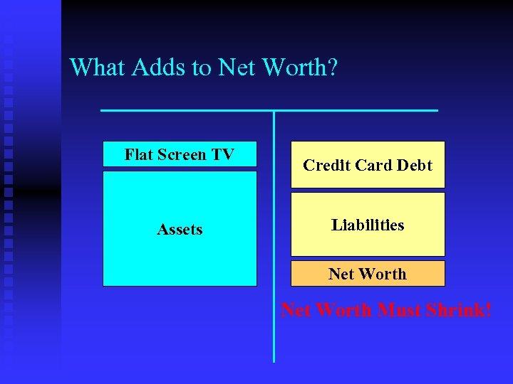 What Adds to Net Worth? Flat Screen TV Assets Credit Card Debt Liabilities Net