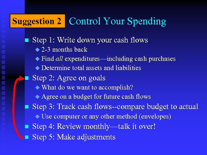 Suggestion 2 Control Your Spending n Step 1: Write down your cash flows u