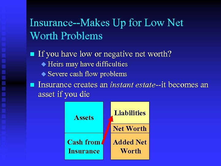 Insurance--Makes Up for Low Net Worth Problems n If you have low or negative