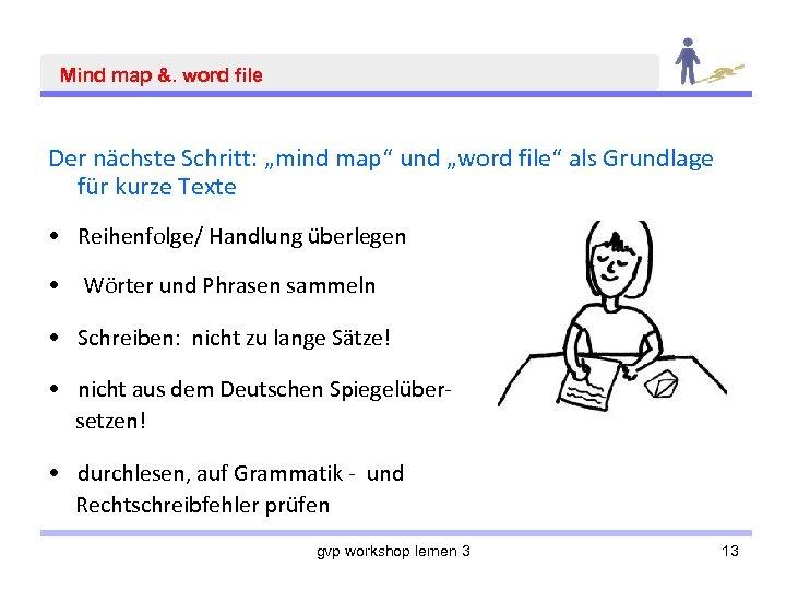 """Mind map &. word file Der nächste Schritt: """"mind map"""" und """"word file"""" als"""