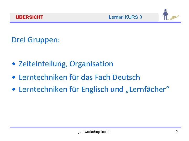 ÜBERSICHT Lernen KURS 3 Drei Gruppen: • Zeiteinteilung, Organisation • Lerntechniken für das Fach