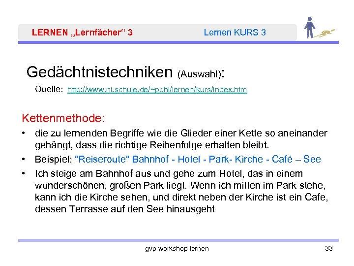 "LERNEN ""Lernfächer"" 3 Lernen KURS 3 Gedächtnistechniken (Auswahl): Quelle: http: //www. ni. schule. de/~pohl/lernen/kurs/index."