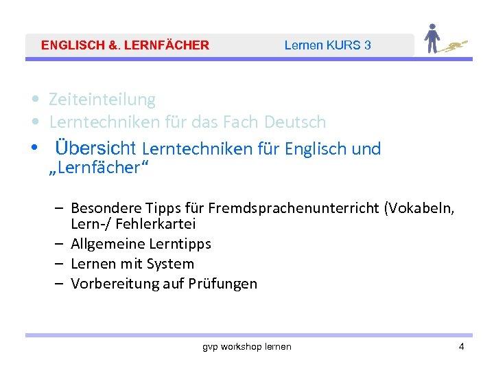 ENGLISCH &. LERNFÄCHER Lernen KURS 3 • Zeiteinteilung • Lerntechniken für das Fach Deutsch