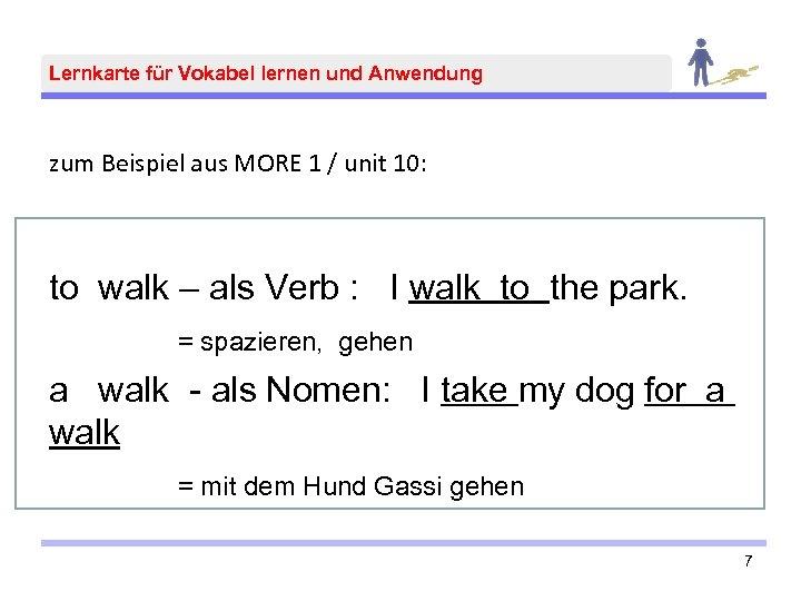 Lernkarte für Vokabel lernen und Anwendung zum Beispiel aus MORE 1 / unit 10: