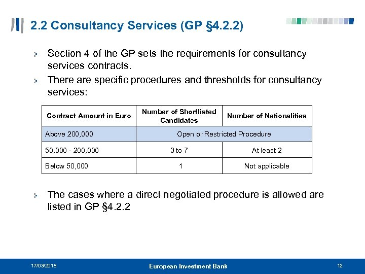2. 2 Consultancy Services (GP § 4. 2. 2) Section 4 of the GP