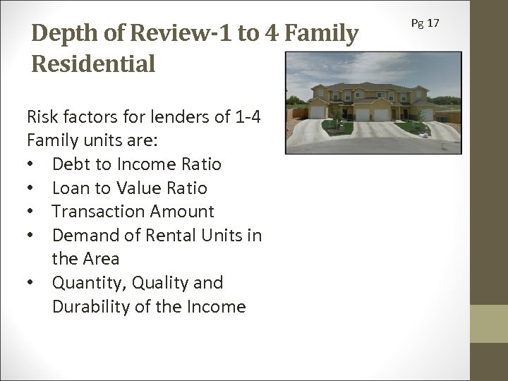 Depth of Review-1 to 4 Family Residential Risk factors for lenders of 1 -4