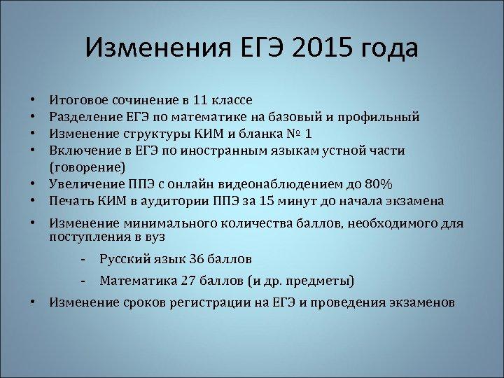 Изменения ЕГЭ 2015 года Итоговое сочинение в 11 классе Разделение ЕГЭ по математике на