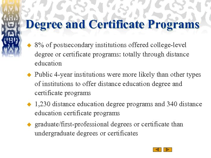 Degree and Certificate Programs u 8% of postsecondary institutions offered college-level degree or certificate