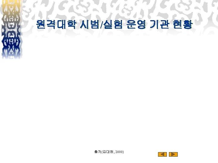 원격대학 시범/실험 운영 기관 현황 출처(김대원, 2000)