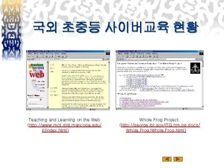 국외 초중등 사이버교육 현황 Teaching and Learning on the Web (http: //www. mcli. dist.