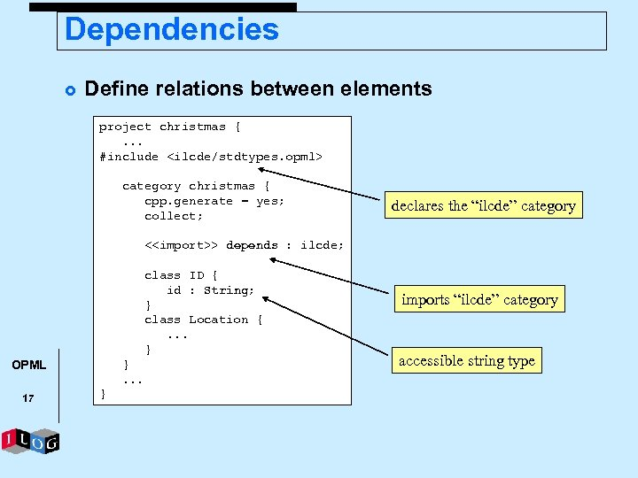 Dependencies £ Define relations between elements project christmas {. . . #include <ilcde/stdtypes. opml>