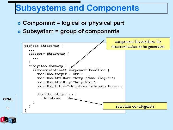 Subsystems and Components £ £ Component = logical or physical part Subsystem = group