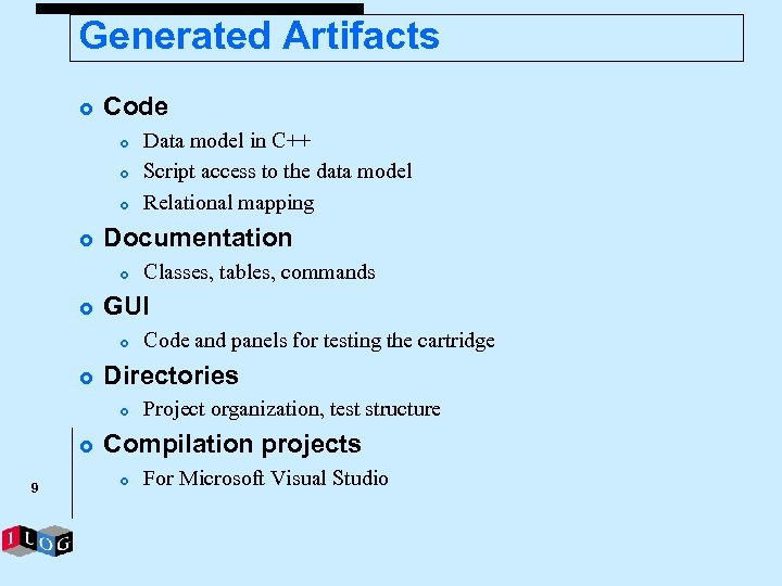 Generated Artifacts £ Code £ £ Documentation £ £ 9 Code and panels for
