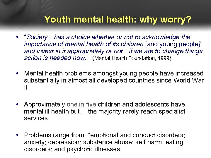 """Youth mental health: why worry? • """"Society…has a choice whether or not to acknowledge"""