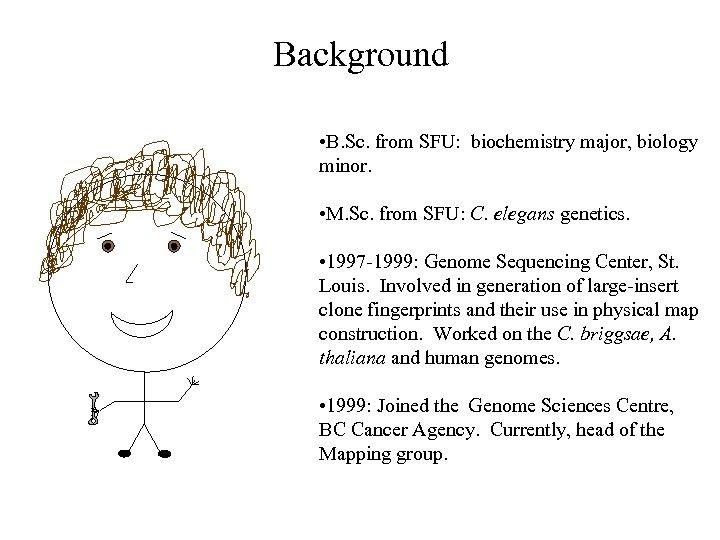 Background • B. Sc. from SFU: biochemistry major, biology minor. • M. Sc. from