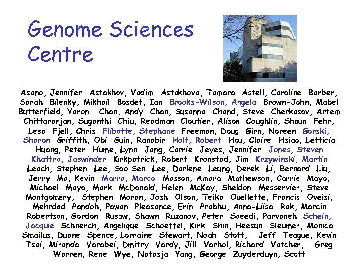 Genome Sciences Centre Asano, Jennifer Astakhov, Vadim Astakhova, Tamara Astell, Caroline Barber, Sarah Bilenky,