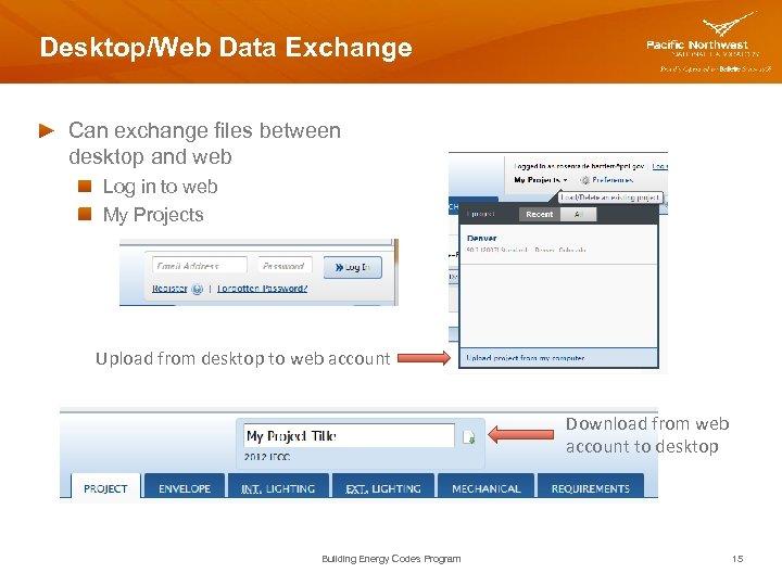 Desktop/Web Data Exchange Can exchange files between desktop and web Log in to web