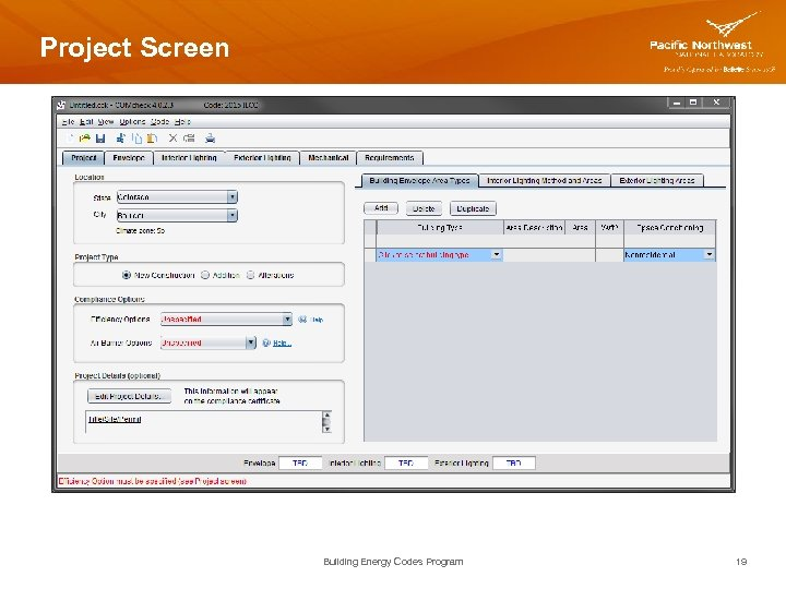 Project Screen Building Energy Codes Program 19