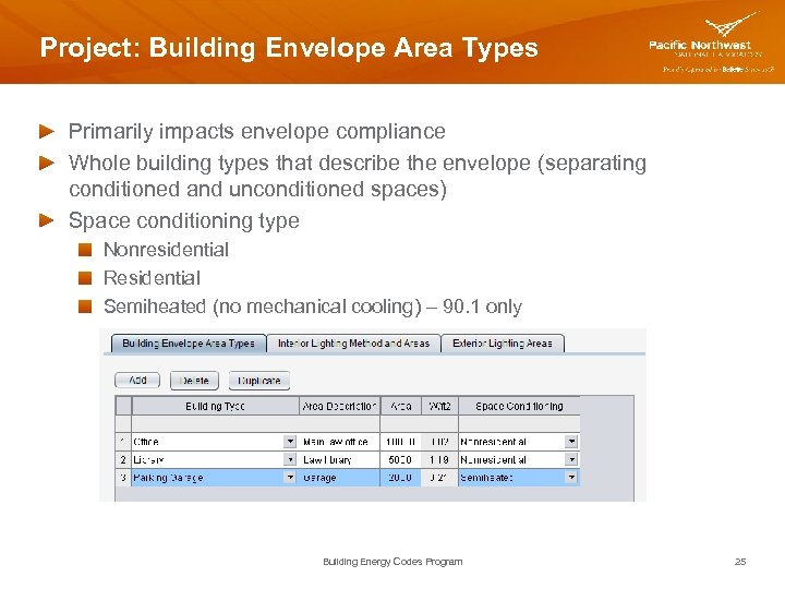 Project: Building Envelope Area Types Primarily impacts envelope compliance Whole building types that describe