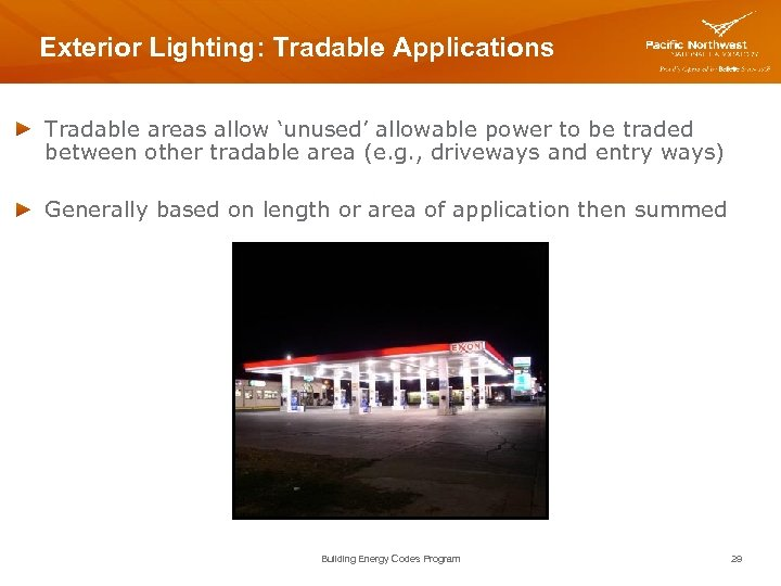 Exterior Lighting: Tradable Applications Tradable areas allow 'unused' allowable power to be traded between