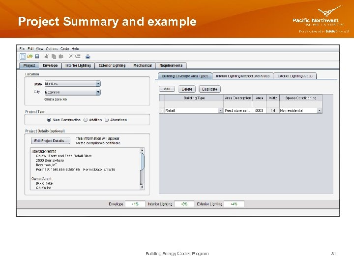 Project Summary and example Building Energy Codes Program 31