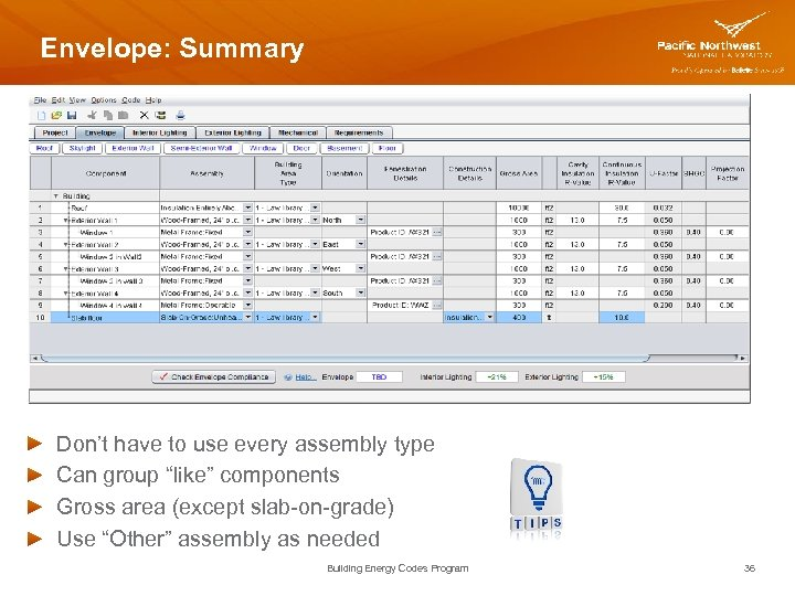 """Envelope: Summary Don't have to use every assembly type Can group """"like"""" components Gross"""