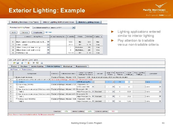 Exterior Lighting: Example Lighting applications entered similar to interior lighting Pay attention to tradable