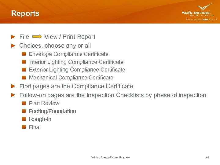 Reports File View / Print Report Choices, choose any or all Envelope Compliance Certificate