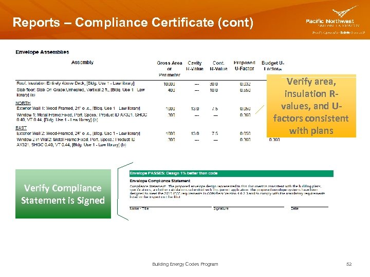 Reports – Compliance Certificate (cont) Verify area, insulation Rvalues, and Ufactors consistent with plans