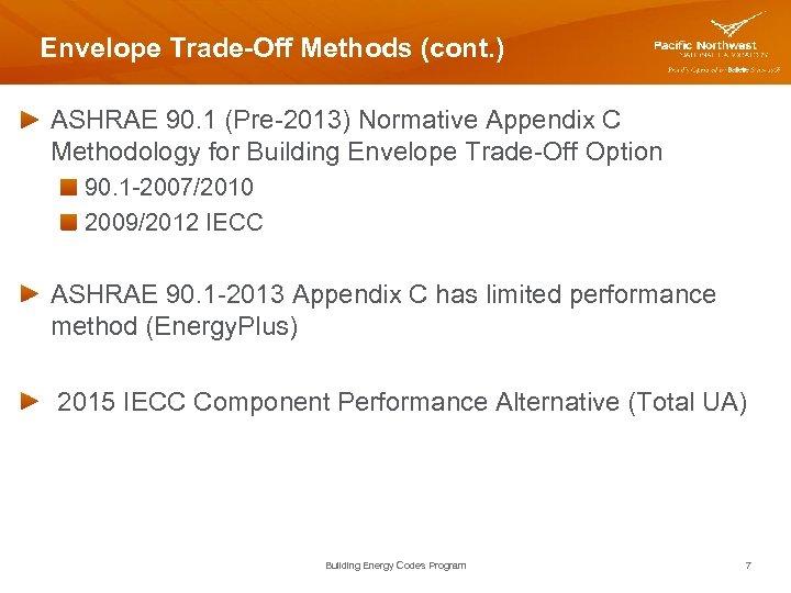 Envelope Trade-Off Methods (cont. ) ASHRAE 90. 1 (Pre-2013) Normative Appendix C Methodology for