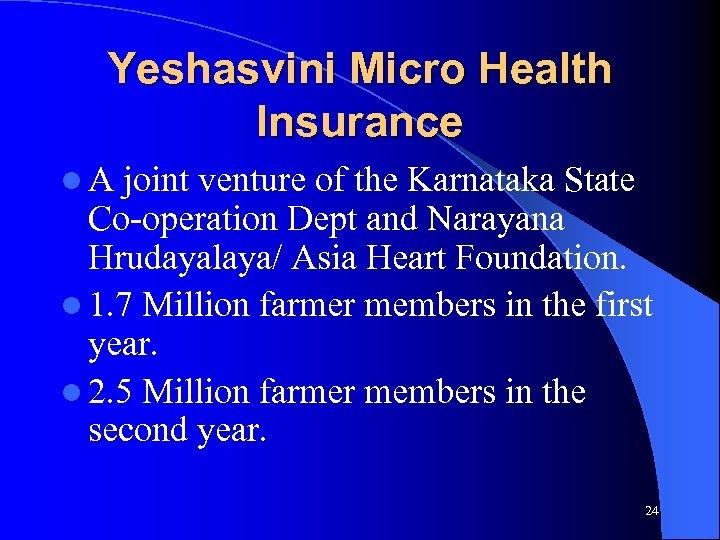 Yeshasvini Micro Health Insurance l. A joint venture of the Karnataka State Co-operation Dept