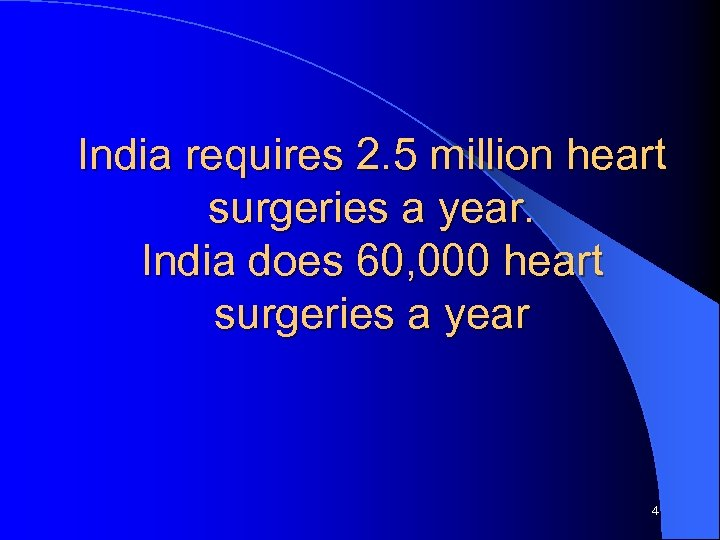 India requires 2. 5 million heart surgeries a year. India does 60, 000 heart