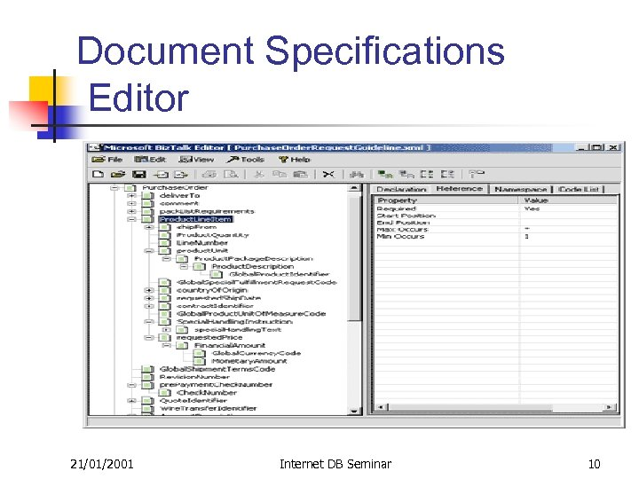Document Specifications Editor 21/01/2001 Internet DB Seminar 10