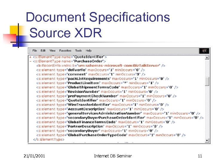 Document Specifications Source XDR 21/01/2001 Internet DB Seminar 11