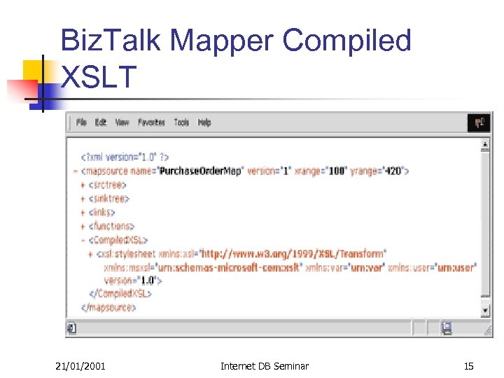 Biz. Talk Mapper Compiled XSLT 21/01/2001 Internet DB Seminar 15