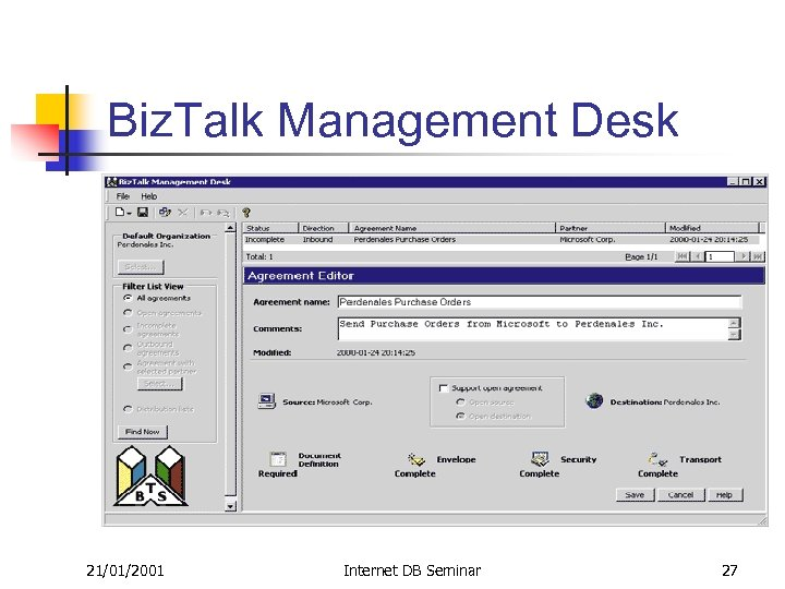 Biz. Talk Management Desk 21/01/2001 Internet DB Seminar 27