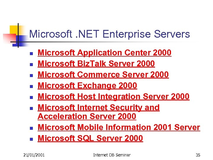 Microsoft. NET Enterprise Servers n n n n Microsoft Application Center 2000 Microsoft Biz.