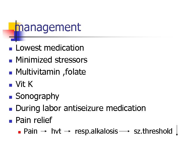 management n n n n Lowest medication Minimized stressors Multivitamin , folate Vit K