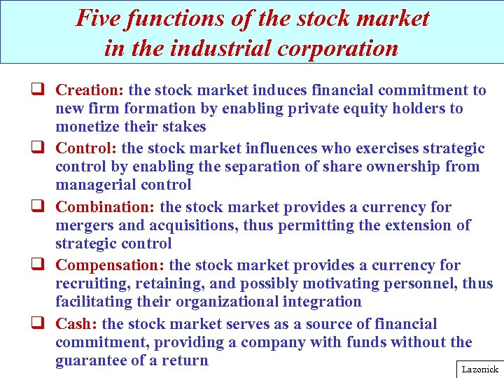 Five functions of the stock market in the industrial corporation q Creation: the stock