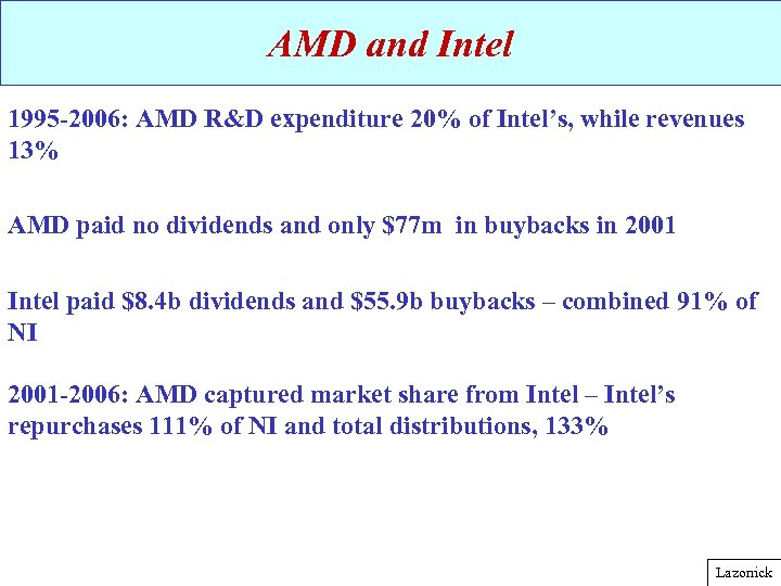 AMD and Intel 1995 -2006: AMD R&D expenditure 20% of Intel's, while revenues 13%