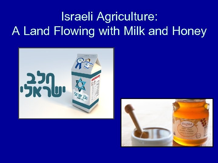 Israeli Agriculture: A Land Flowing with Milk and Honey