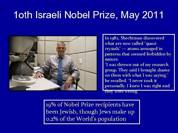 1 oth Israeli Nobel Prize, May 2011 In 1982, Shechtman discovered what are now