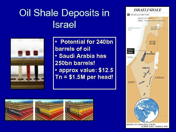 Oil Shale Deposits in Israel • Potential for 240 bn barrels of oil •