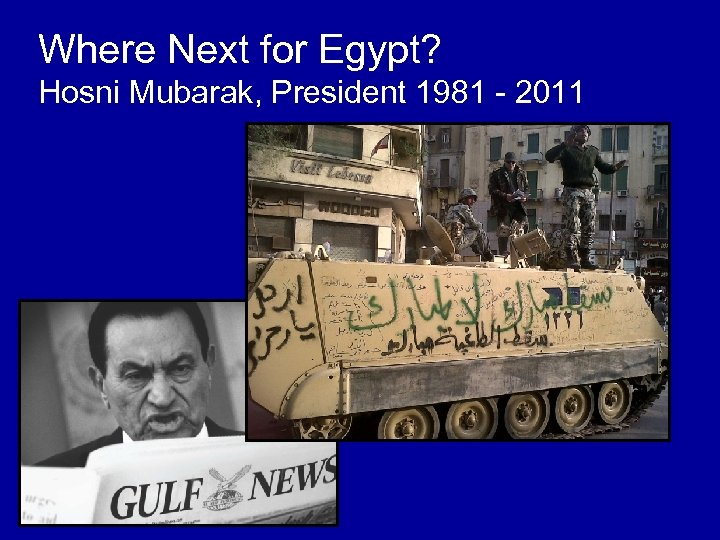 Where Next for Egypt? Hosni Mubarak, President 1981 - 2011