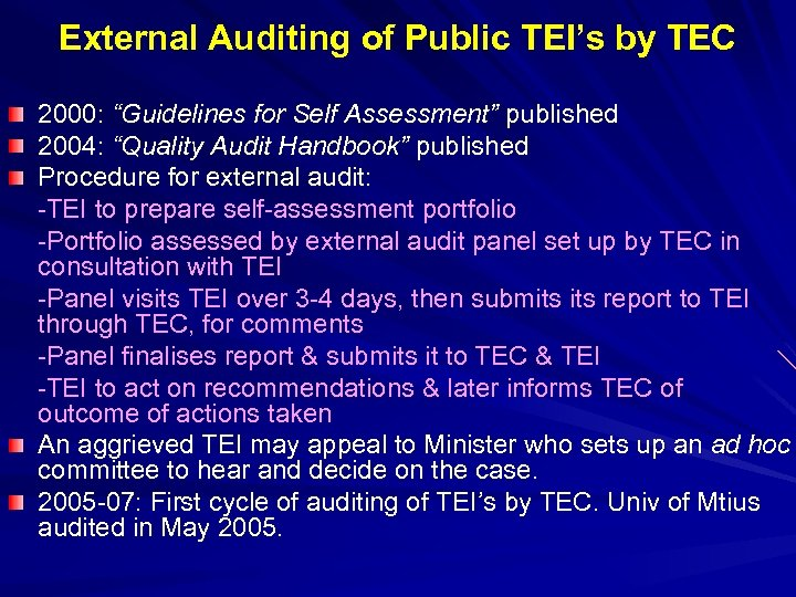 "External Auditing of Public TEI's by TEC 2000: ""Guidelines for Self Assessment"" published 2004:"