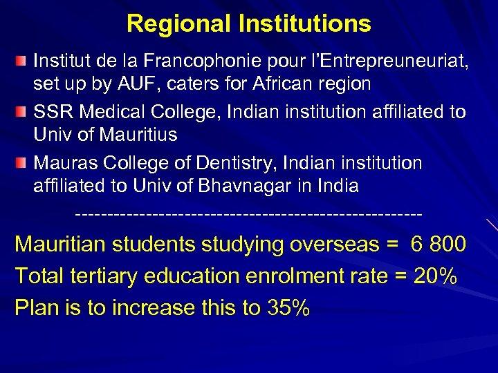 Regional Institutions Institut de la Francophonie pour l'Entrepreuneuriat, set up by AUF, caters for