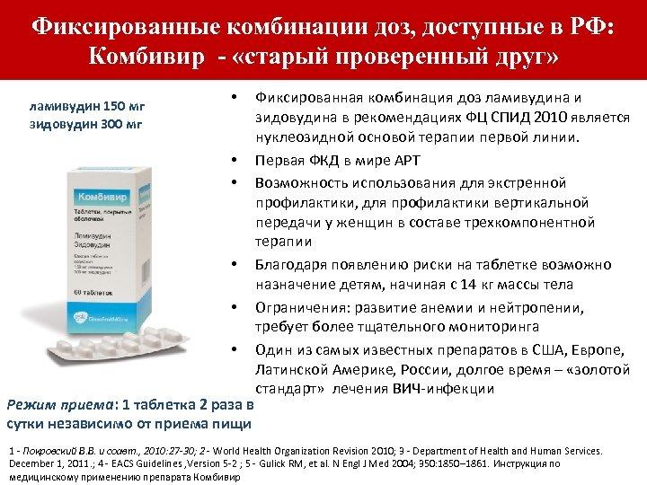 Фиксированные комбинации доз, доступные в РФ: Комбивир - «старый проверенный друг» ламивудин 150 мг